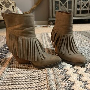 Volatile booties with fringe. Worn twice